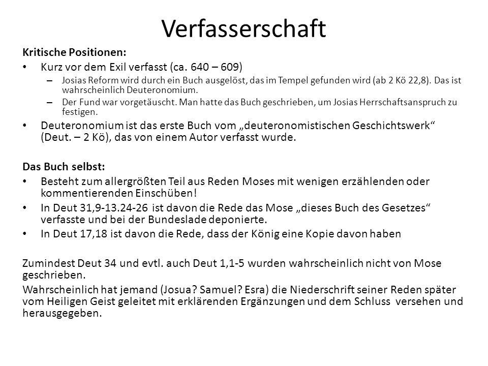 Verfasserschaft Kritische Positionen: Kurz vor dem Exil verfasst (ca.