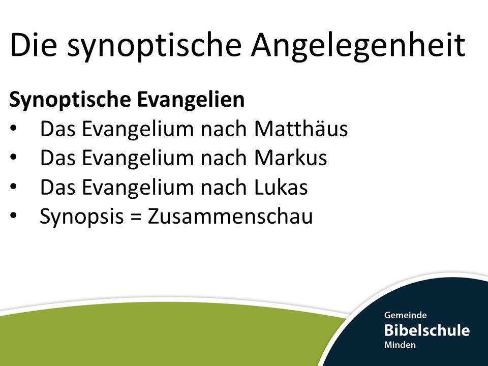 Die synoptische Angelegenheit Die synoptische Besonderheit Matthäus, Markus und Lukas haben erstaunlich viele Übereinstimmungen.