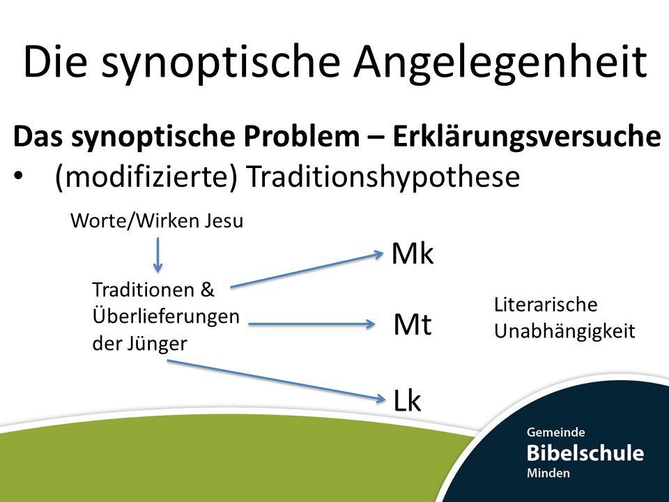Die synoptische Angelegenheit Das synoptische Problem – Erklärungsversuche (modifizierte) Traditionshypothese Mk Lk Mt Traditionen & Überlieferungen d