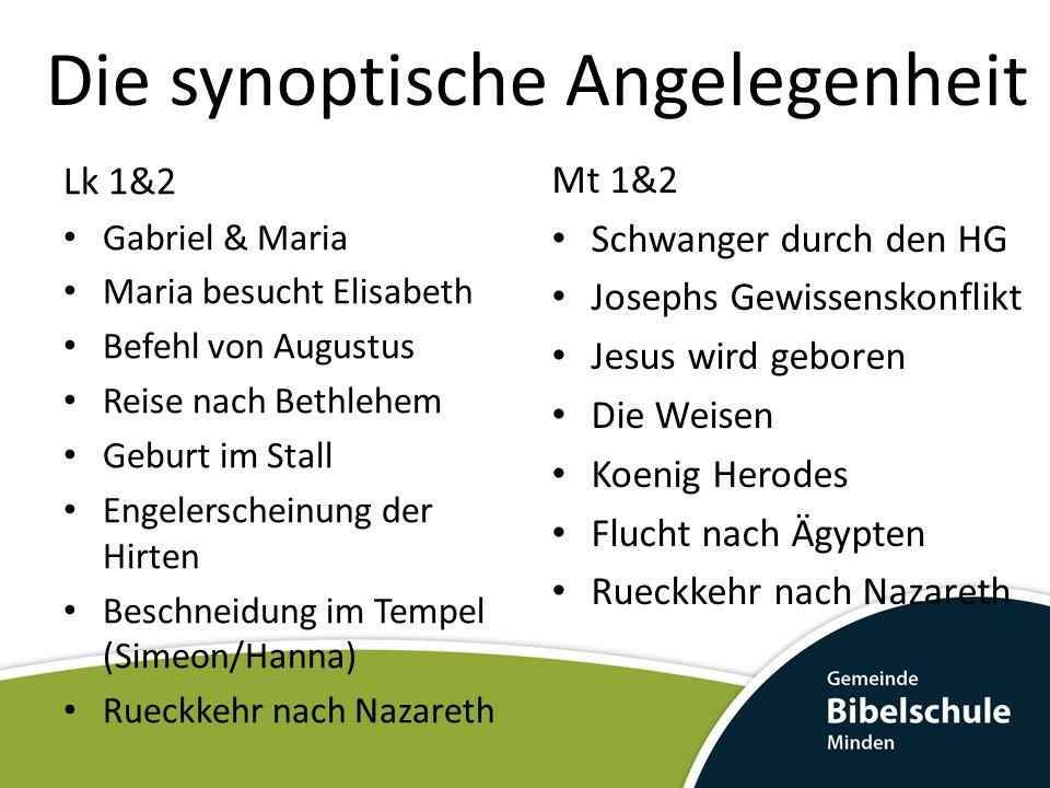 Die synoptische Angelegenheit Mt 1&2 Schwanger durch den HG Josephs Gewissenskonflikt Jesus wird geboren Die Weisen Koenig Herodes Flucht nach Ägypten