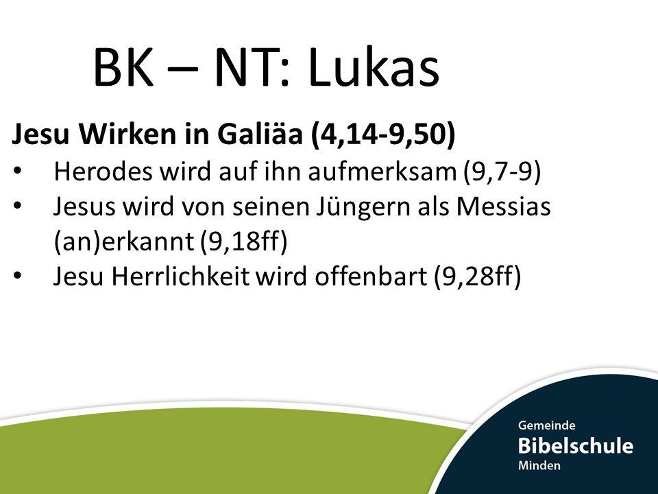 BK – NT: Lukas Jesu Wirken in Galiäa (4,14-9,50) Herodes wird auf ihn aufmerksam (9,7-9) Jesus wird von seinen Jüngern als Messias (an)erkannt (9,18ff