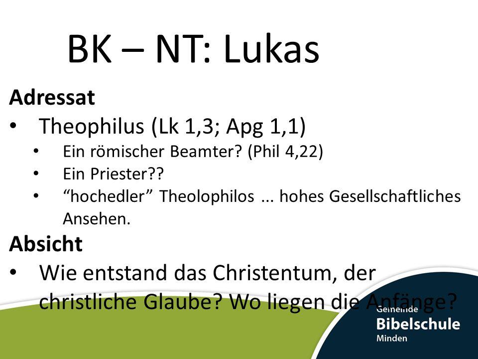 BK – NT: Lukas Adressat Theophilus (Lk 1,3; Apg 1,1) Ein römischer Beamter? (Phil 4,22) Ein Priester?? hochedler Theolophilos... hohes Gesellschaftlic