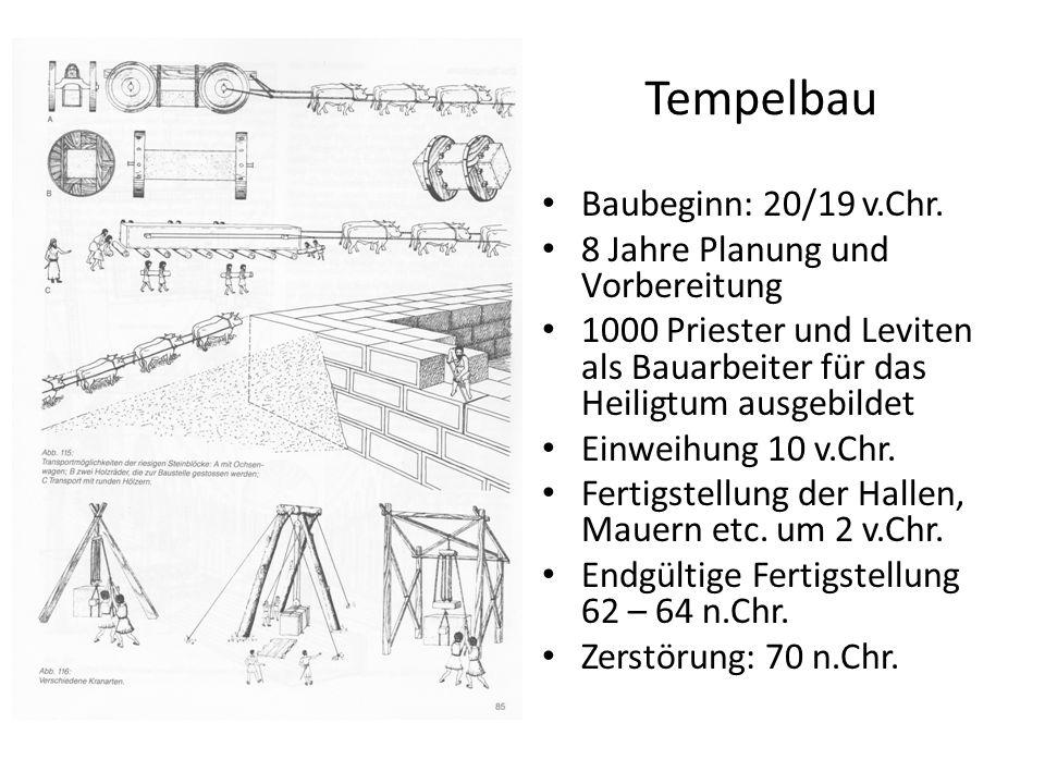 Tempelbau Baubeginn: 20/19 v.Chr. 8 Jahre Planung und Vorbereitung 1000 Priester und Leviten als Bauarbeiter für das Heiligtum ausgebildet Einweihung