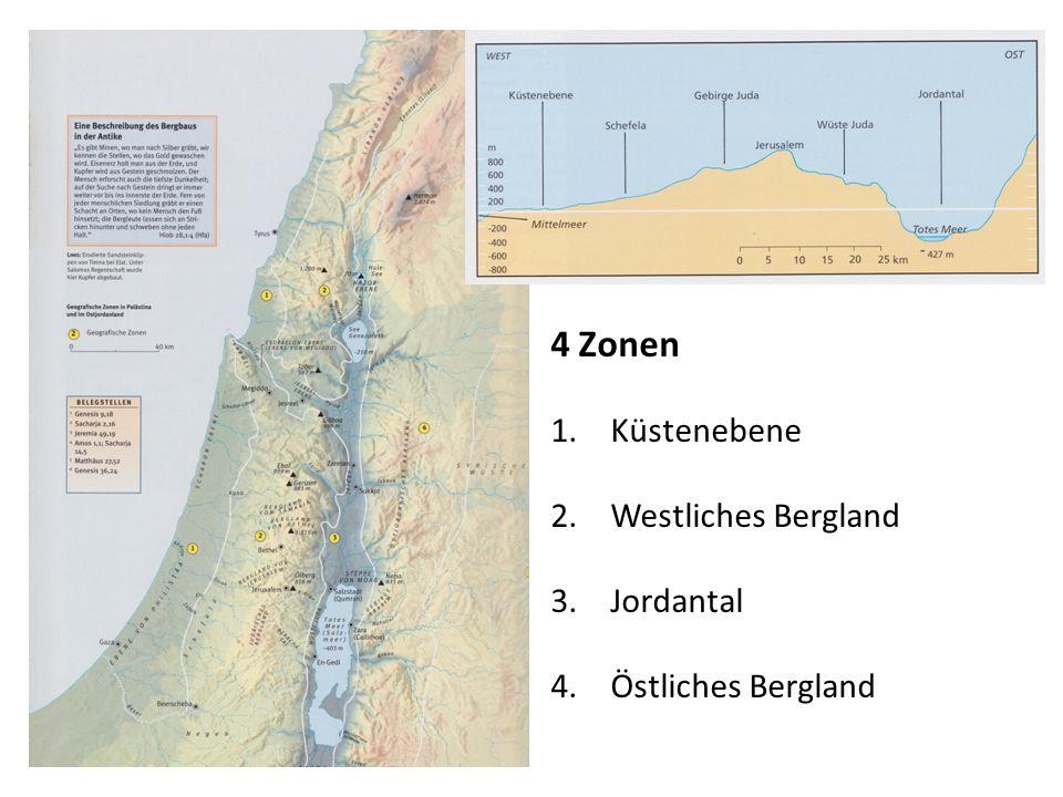 4 Zonen 1.Küstenebene 2.Westliches Bergland 3.Jordantal 4.Östliches Bergland