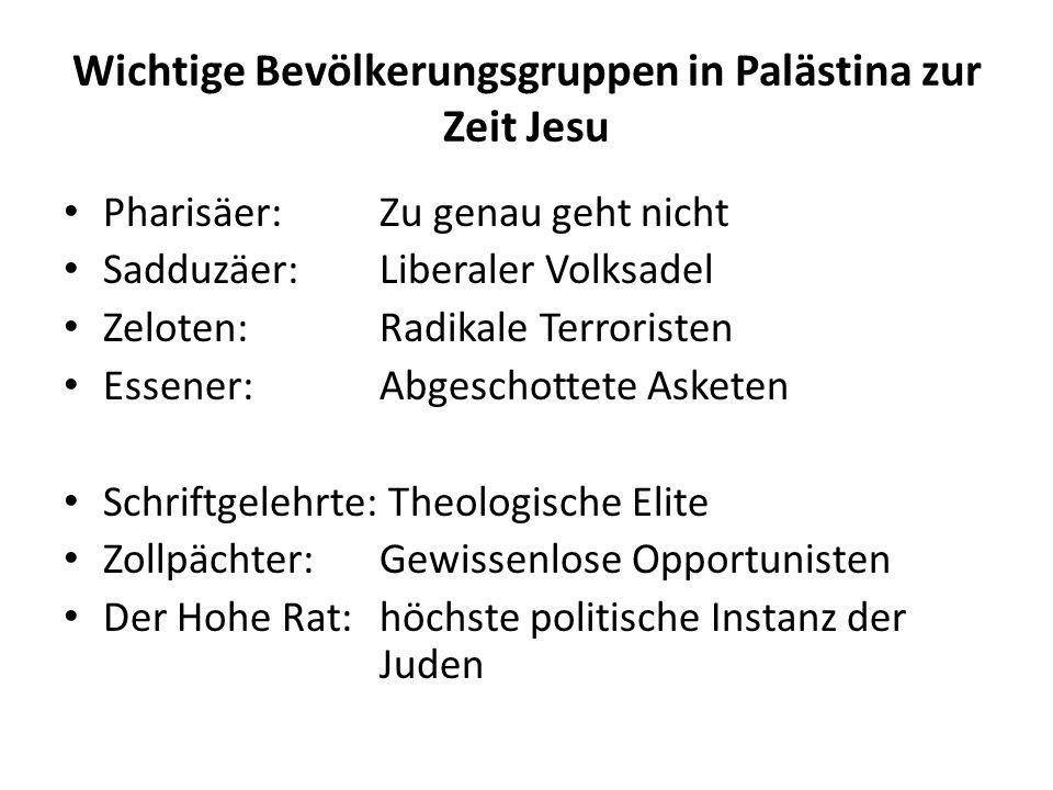 Wichtige Bevölkerungsgruppen in Palästina zur Zeit Jesu Pharisäer: Zu genau geht nicht Sadduzäer: Liberaler Volksadel Zeloten: Radikale Terroristen Es