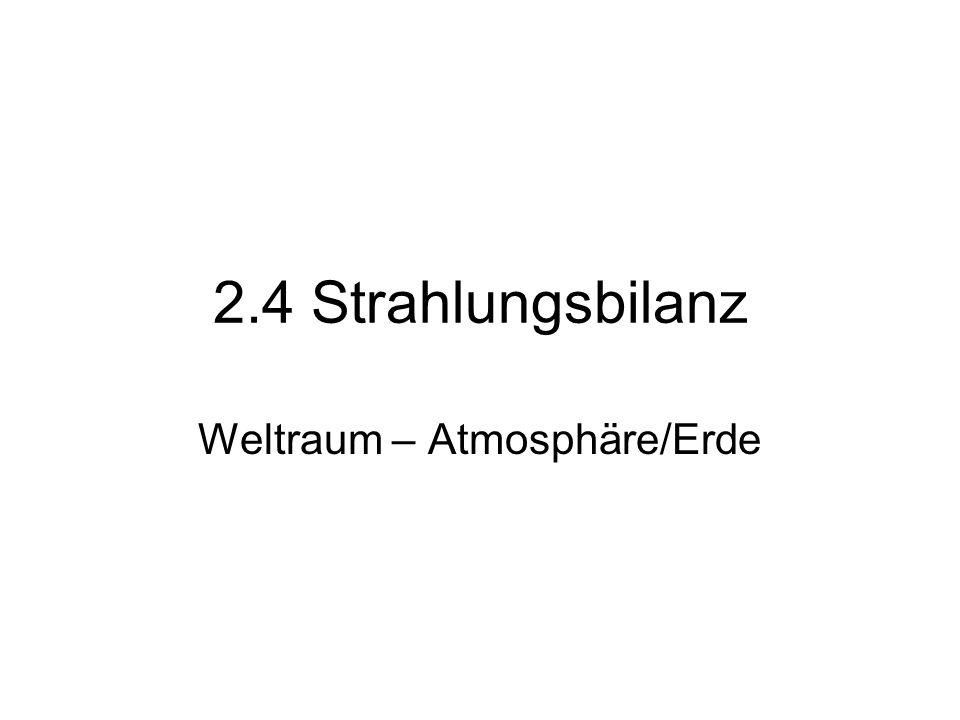 2.4 Strahlungsbilanz Weltraum – Atmosphäre/Erde