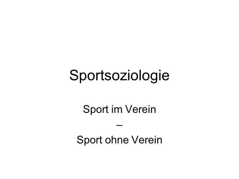 Sportsoziologie Sport im Verein – Sport ohne Verein