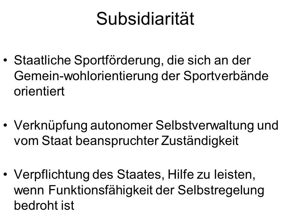 Subsidiarität Staatliche Sportförderung, die sich an der Gemein-wohlorientierung der Sportverbände orientiert Verknüpfung autonomer Selbstverwaltung u
