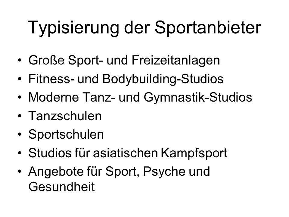 Typisierung der Sportanbieter Große Sport- und Freizeitanlagen Fitness- und Bodybuilding-Studios Moderne Tanz- und Gymnastik-Studios Tanzschulen Sport