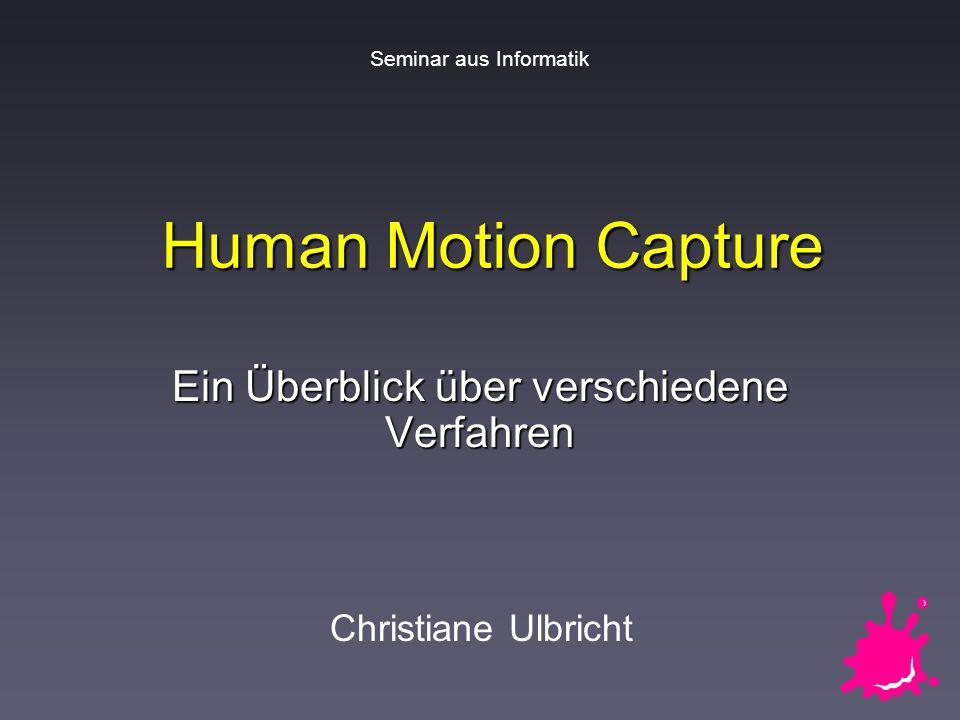 Christiane UlbrichtSeminar aus Informatik: Motion Capture 22 / 26 Markerlose optische Systeme