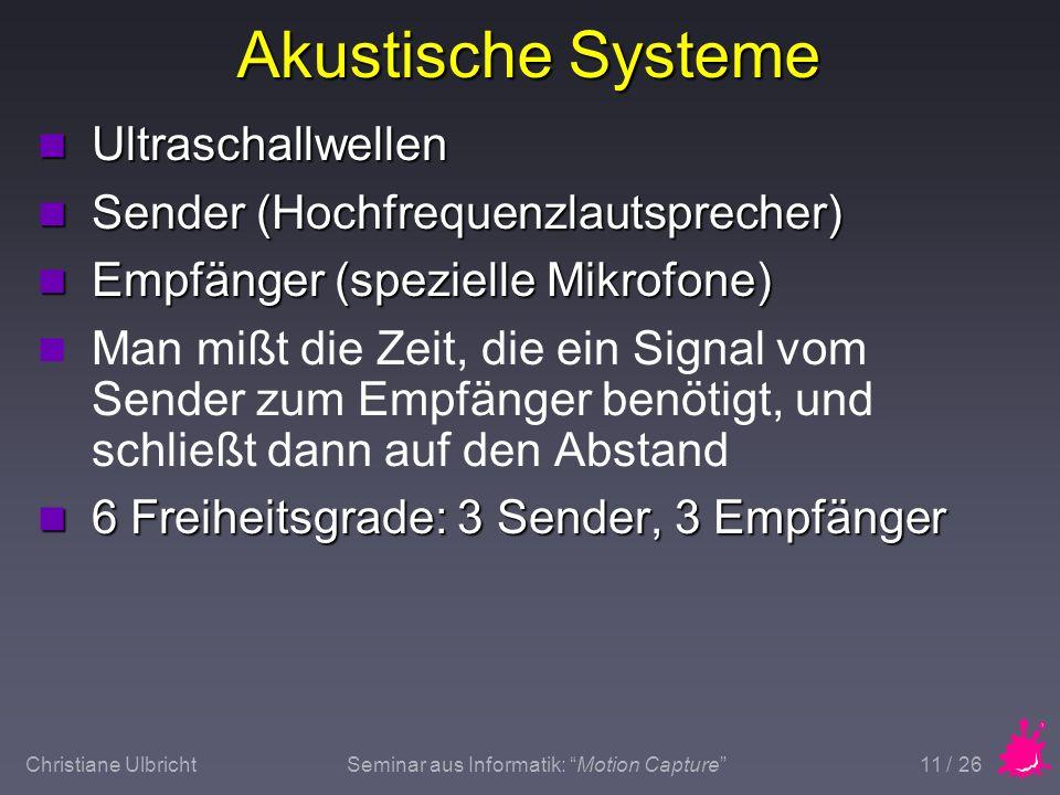 Christiane UlbrichtSeminar aus Informatik: Motion Capture 11 / 26 Akustische Systeme n Ultraschallwellen n Sender (Hochfrequenzlautsprecher) n Empfäng