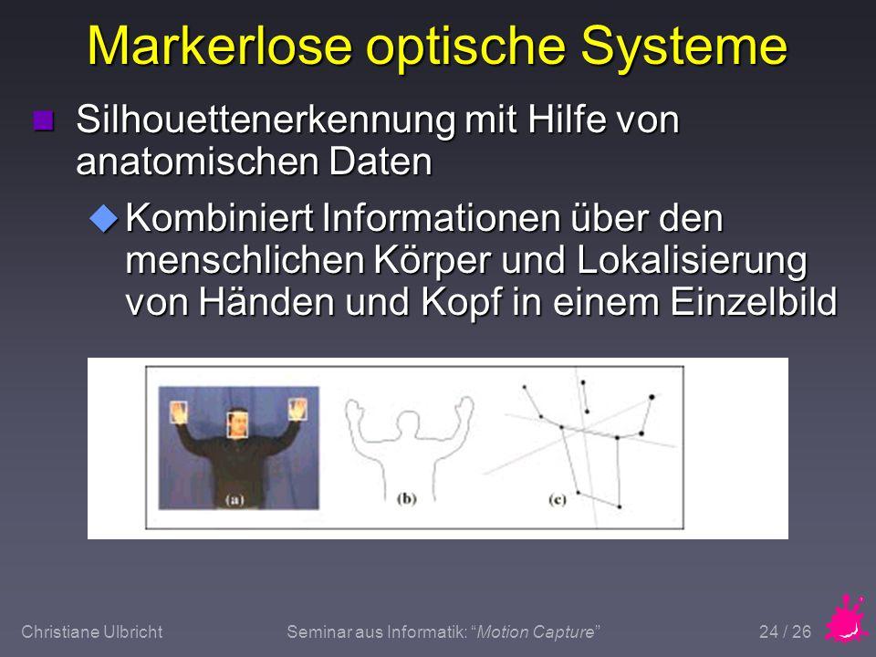 Christiane UlbrichtSeminar aus Informatik: Motion Capture 24 / 26 Markerlose optische Systeme n Silhouettenerkennung mit Hilfe von anatomischen Daten