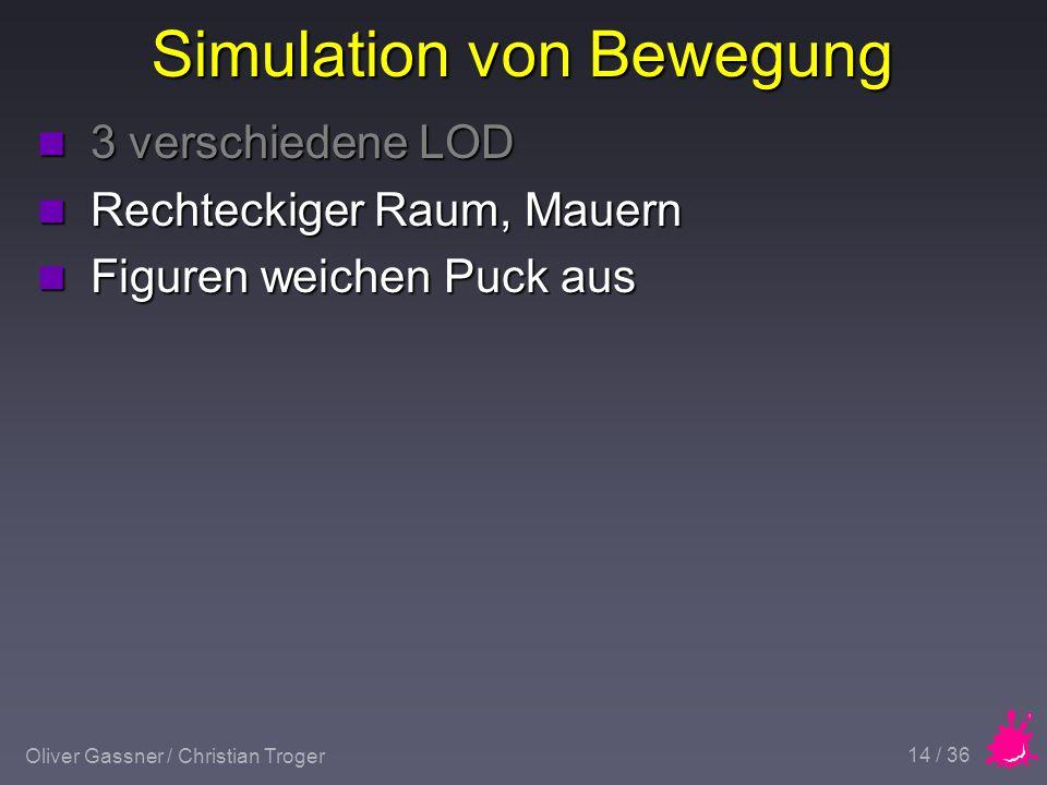 Oliver Gassner / Christian Troger 14 / 36 Simulation von Bewegung n 3 verschiedene LOD n Rechteckiger Raum, Mauern n Figuren weichen Puck aus