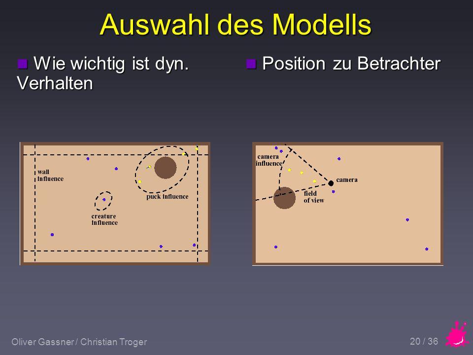 Oliver Gassner / Christian Troger 20 / 36 Auswahl des Modells n Wie wichtig ist dyn.
