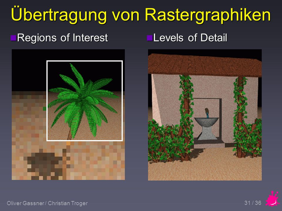 Oliver Gassner / Christian Troger 31 / 36 Übertragung von Rastergraphiken n Regions of Interest n Levels of Detail