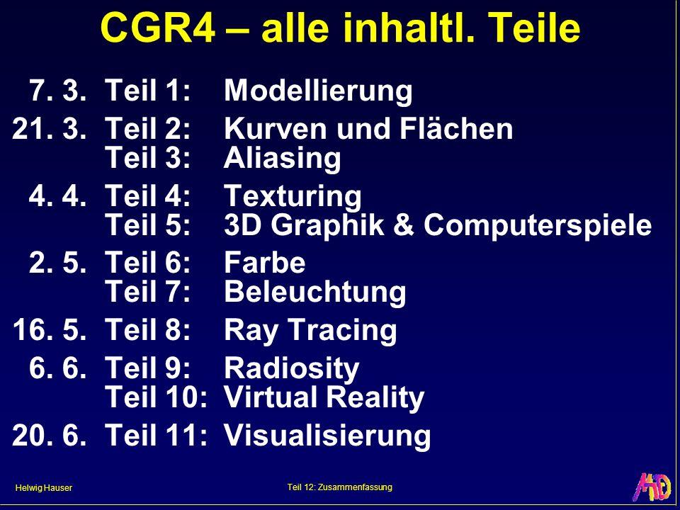 Helwig Hauser Teil 12: Zusammenfassung CGR4 – alle inhaltl. Teile 7. 3.Teil 1:Modellierung 21. 3.Teil 2:Kurven und Flächen Teil 3:Aliasing 4. 4.Teil 4