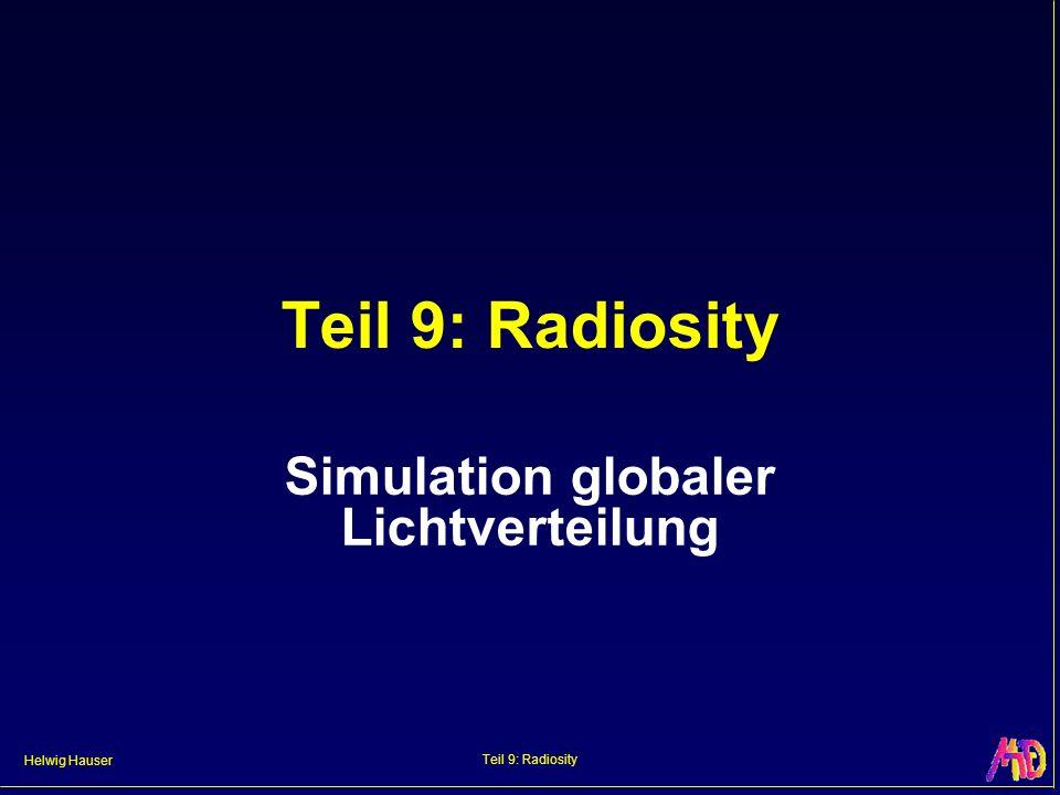 Helwig Hauser Teil 9: Radiosity Radiosity Lösen globaler diffuser Beleuchtung in abgeschlossenem System Gut geeignet für Innenraumsimulationen Algorithmik und Ergebnisbilder doch sehr verschieden zu Ray Tracing