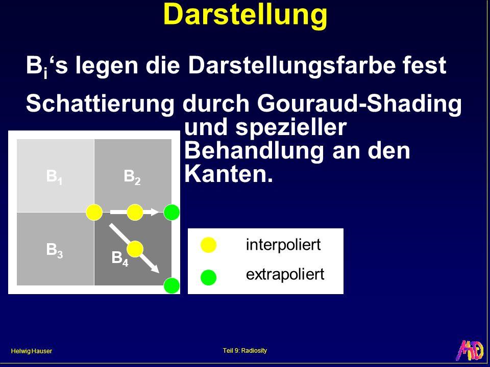 Helwig Hauser Teil 9: Radiosity Darstellung B i s legen die Darstellungsfarbe fest Schattierung durch Gouraud-Shading und spezieller Behandlung an den Kanten.