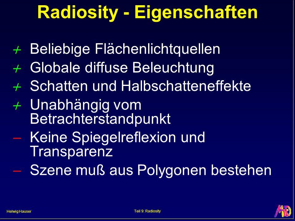 Helwig Hauser Teil 9: Radiosity Radiosity - Eigenschaften Beliebige Flächenlichtquellen Globale diffuse Beleuchtung Schatten und Halbschatteneffekte Unabhängig vom Betrachterstandpunkt Keine Spiegelreflexion und Transparenz Szene muß aus Polygonen bestehen