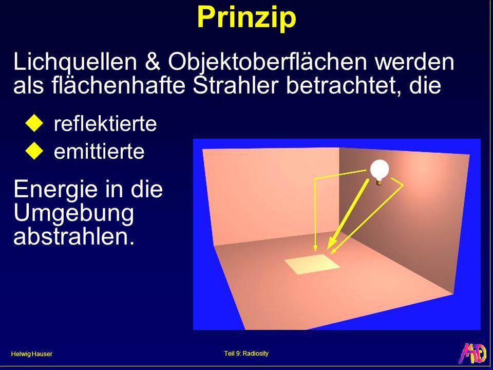Helwig Hauser Teil 9: Radiosity Prinzip Lichquellen & Objektoberflächen werden als flächenhafte Strahler betrachtet, die reflektierte emittierte Energie in die Umgebung abstrahlen.