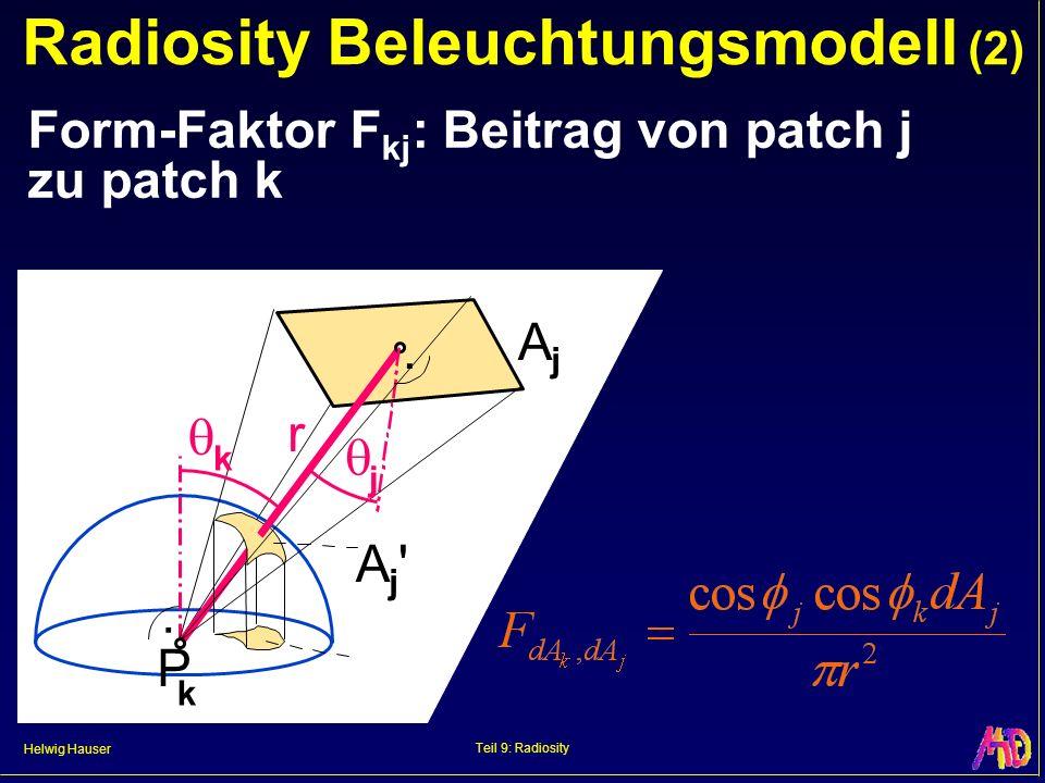 Helwig Hauser Teil 9: Radiosity Radiosity Beleuchtungsmodell (3) Form-Faktor Berechnung teuerster Schritt bei Radiosity numerisch (Monte Carlo Methode) hemicube Ansatz P k P j