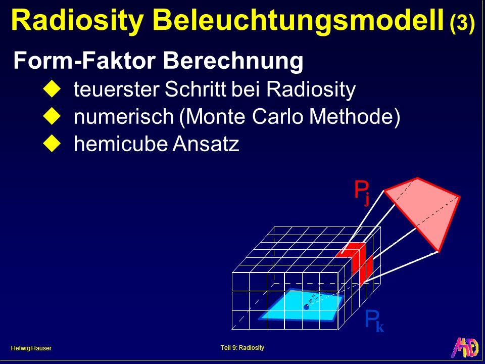 Helwig Hauser Teil 9: Radiosity Form-Faktor – Hemicube Ansatz