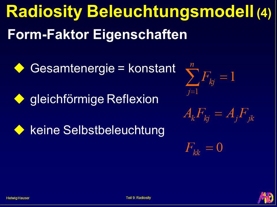 Helwig Hauser Teil 9: Radiosity Radiosity Beleuchtungsmodell (4) Form-Faktor Eigenschaften Gesamtenergie = konstant gleichförmige Reflexion keine Selbstbeleuchtung