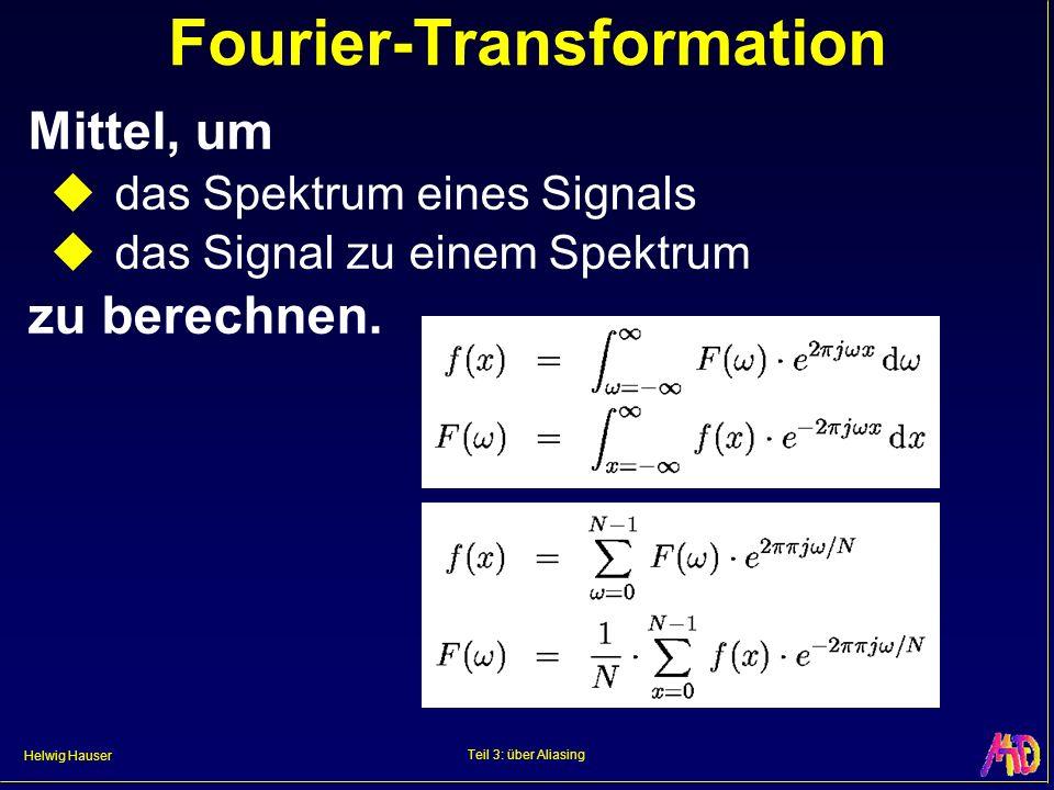 Helwig Hauser Teil 3: über Aliasing Fourier-Transformation Mittel, um das Spektrum eines Signals das Signal zu einem Spektrum zu berechnen.