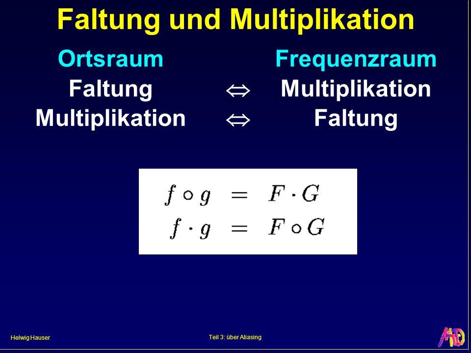 Helwig Hauser Teil 3: über Aliasing Faltung und Multiplikation OrtsraumFrequenzraum Faltung Multiplikation Multiplikation Faltung