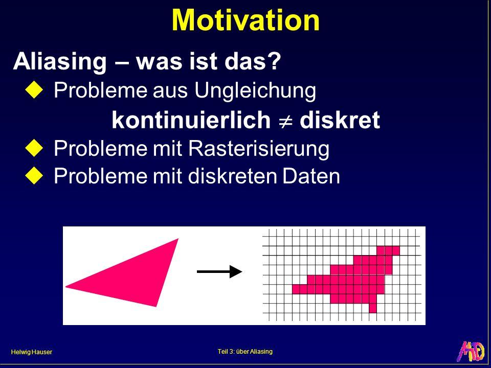 Helwig Hauser Teil 3: über Aliasing Motivation Aliasing – was ist das? Probleme aus Ungleichung kontinuierlich diskret Probleme mit Rasterisierung Pro