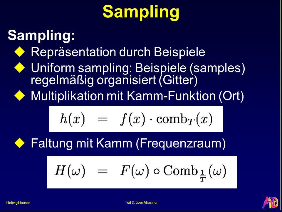 Helwig Hauser Teil 3: über Aliasing Sampling Sampling: Repräsentation durch Beispiele Uniform sampling: Beispiele (samples) regelmäßig organisiert (Gi
