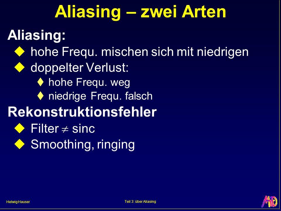 Helwig Hauser Teil 3: über Aliasing Aliasing – zwei Arten Aliasing: hohe Frequ. mischen sich mit niedrigen doppelter Verlust: hohe Frequ. weg niedrige