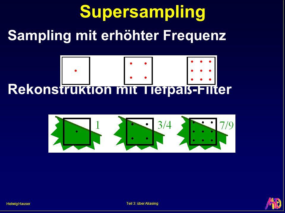 Helwig Hauser Teil 3: über Aliasing Supersampling Sampling mit erhöhter Frequenz Rekonstruktion mit Tiefpaß-Filter