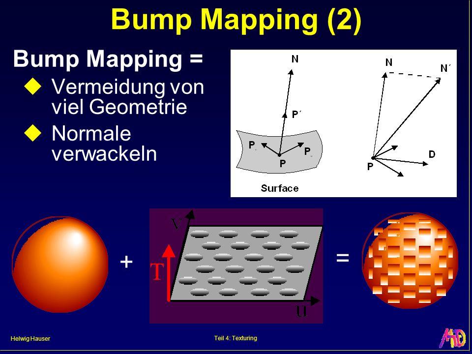Helwig Hauser Teil 4: Texturing Bump Mapping (2) Bump Mapping = Vermeidung von viel Geometrie Normale verwackeln + =
