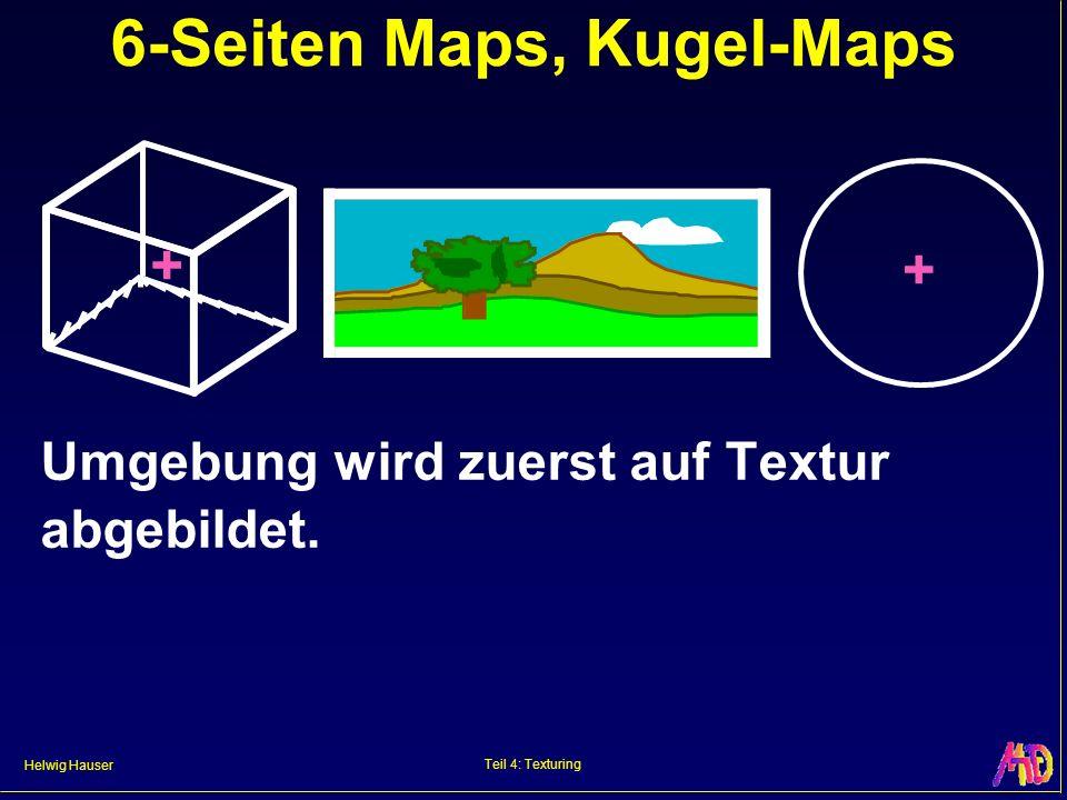 Helwig Hauser Teil 4: Texturing 6-Seiten Maps, Kugel-Maps Umgebung wird zuerst auf Textur abgebildet.