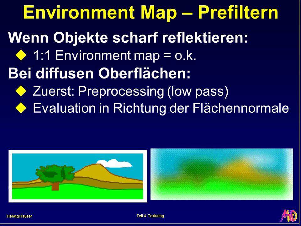 Helwig Hauser Teil 4: Texturing Environment Map – Prefiltern Wenn Objekte scharf reflektieren: 1:1 Environment map = o.k.