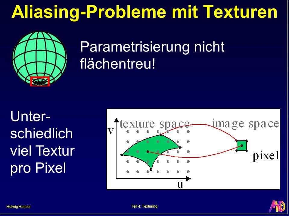 Helwig Hauser Teil 4: Texturing Aliasing-Probleme mit Texturen Parametrisierung nicht flächentreu.