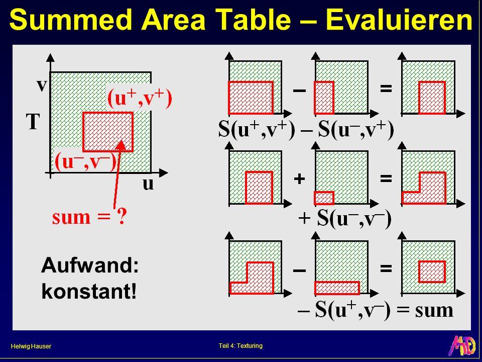 Helwig Hauser Teil 4: Texturing Summed Area Table – Evaluieren Aufwand: konstant!