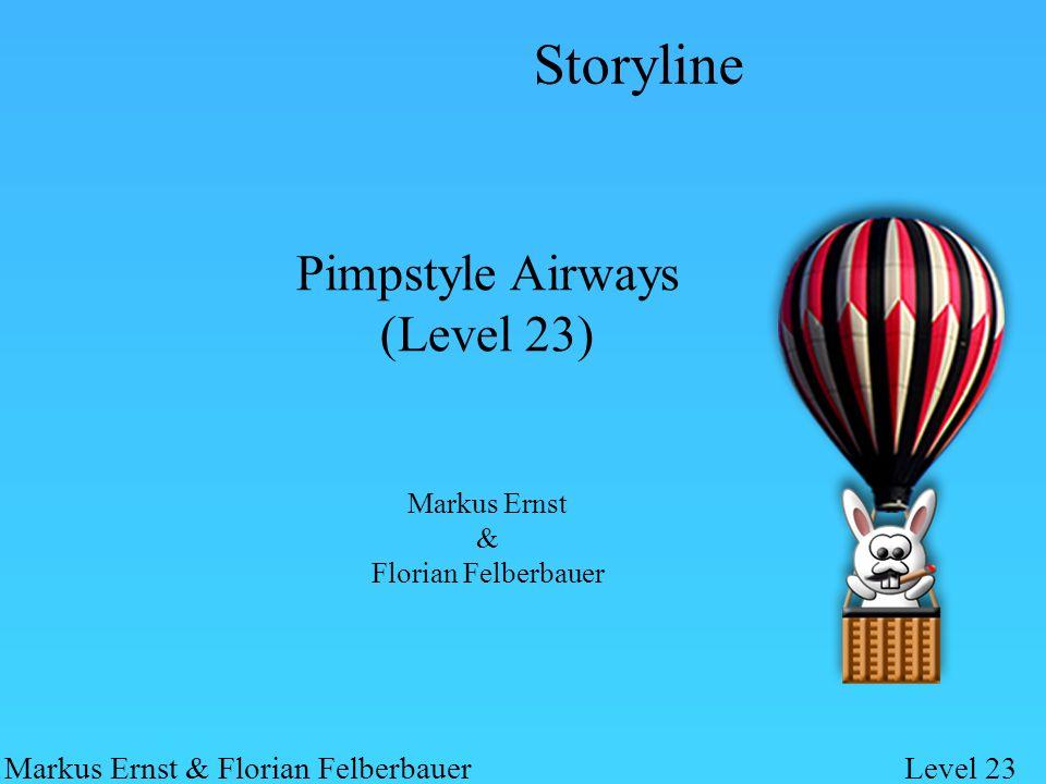 Pimpstyle Airways (Level 23) Markus Ernst & Florian Felberbauer Markus Ernst & Florian FelberbauerLevel 23 Hase möchte im Heißluftballon in den Himmel aufsteigen Weg dorthin von herabfallenden Objekten gepflastert Objekten muss ausgewichen werden (entgegen der Realität trifft die Faust von Chuck Norris nicht immer!!elf) Storyline