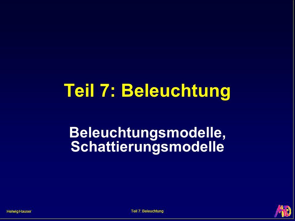 Helwig Hauser Teil 7: Beleuchtung Beleuchtungsmodelle, Schattierungsmodelle