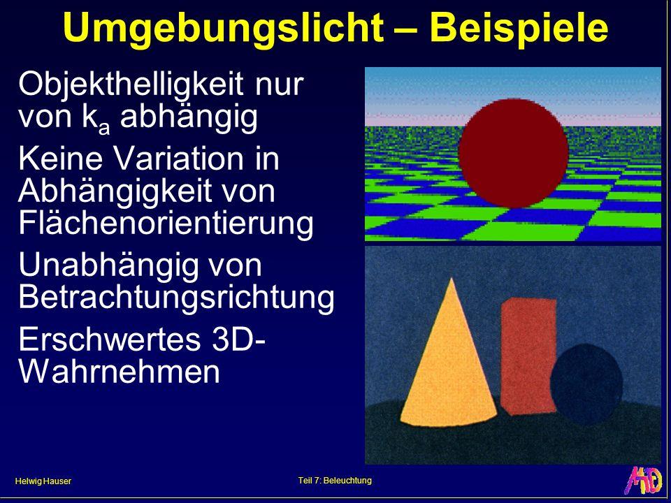 Helwig Hauser Teil 7: Beleuchtung Umgebungslicht – Beispiele Objekthelligkeit nur von k a abhängig Keine Variation in Abhängigkeit von Flächenorientie