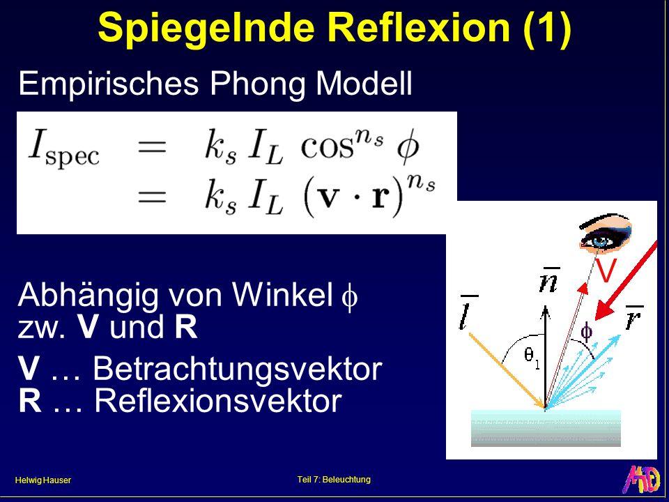 Helwig Hauser Teil 7: Beleuchtung Spiegelnde Reflexion (1) Empirisches Phong Modell Abhängig von Winkel zw. V und R V … Betrachtungsvektor R … Reflexi