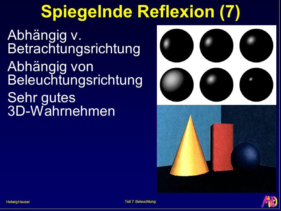Helwig Hauser Teil 7: Beleuchtung Spiegelnde Reflexion (7) Abhängig v. Betrachtungsrichtung Abhängig von Beleuchtungsrichtung Sehr gutes 3D-Wahrnehmen