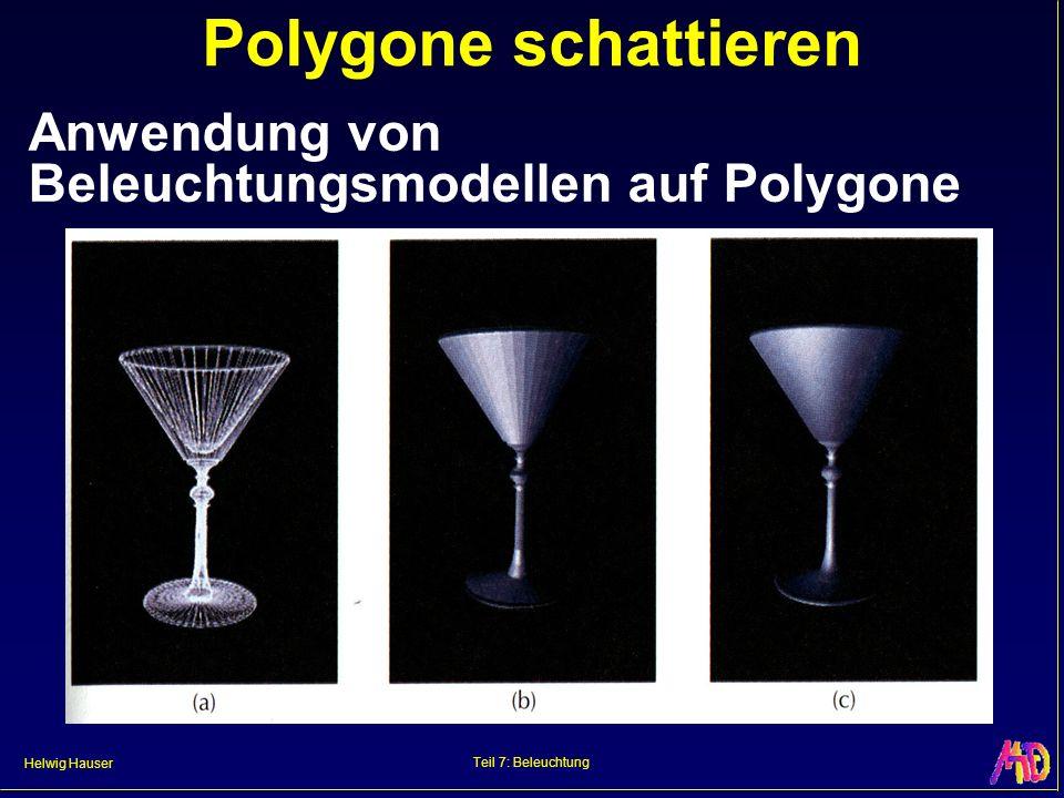 Helwig Hauser Teil 7: Beleuchtung Polygone schattieren Anwendung von Beleuchtungsmodellen auf Polygone