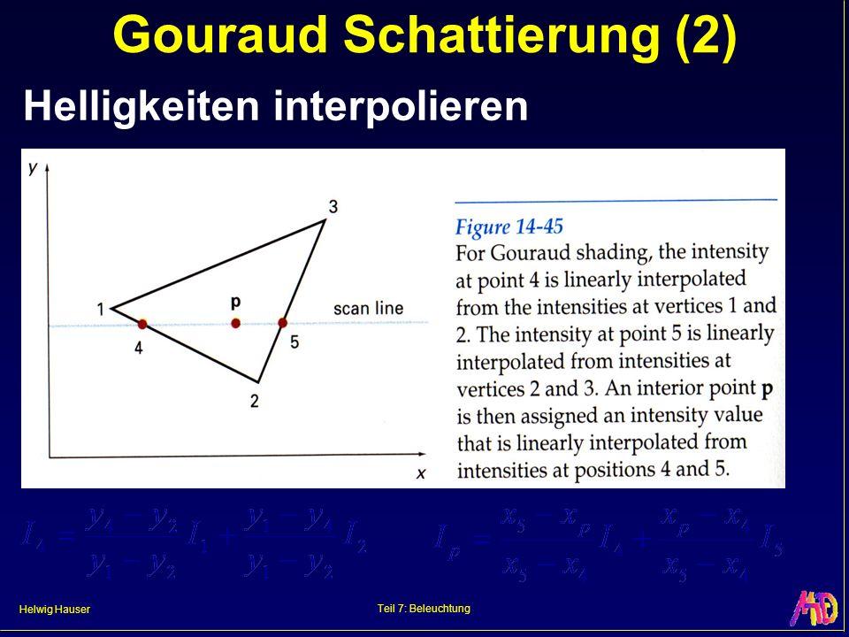 Helwig Hauser Teil 7: Beleuchtung Gouraud Schattierung (2) Helligkeiten interpolieren
