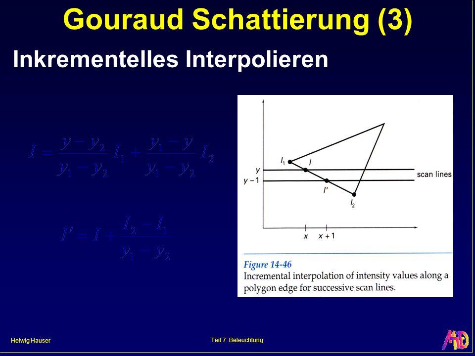 Helwig Hauser Teil 7: Beleuchtung Gouraud Schattierung (3) Inkrementelles Interpolieren