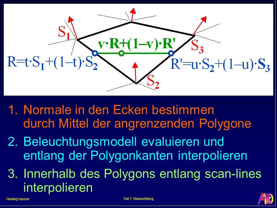 Helwig Hauser Teil 7: Beleuchtung 1. Normale in den Ecken bestimmen durch Mittel der angrenzenden Polygone 2. Beleuchtungsmodell evaluieren und entlan