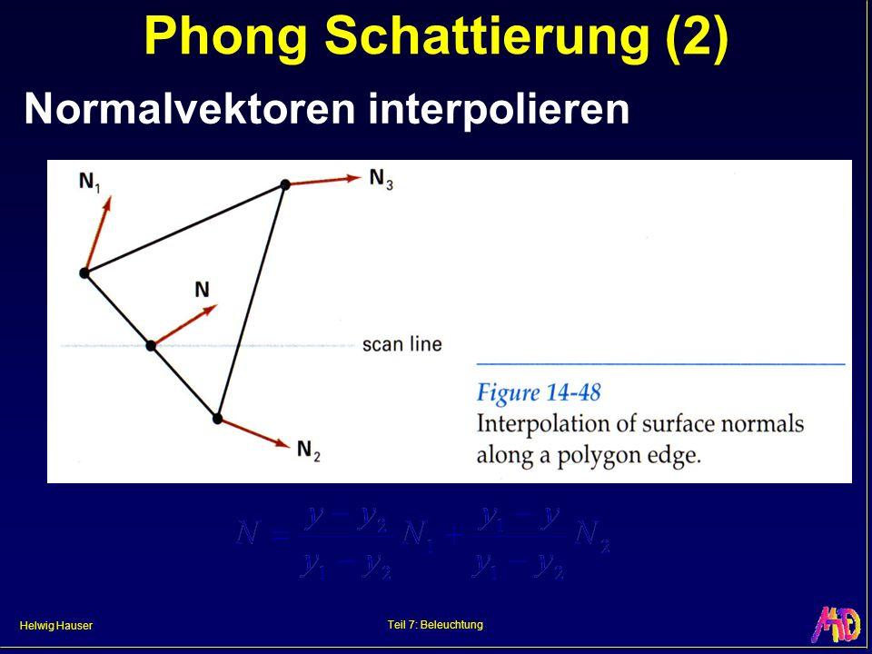 Helwig Hauser Teil 7: Beleuchtung Phong Schattierung (2) Normalvektoren interpolieren