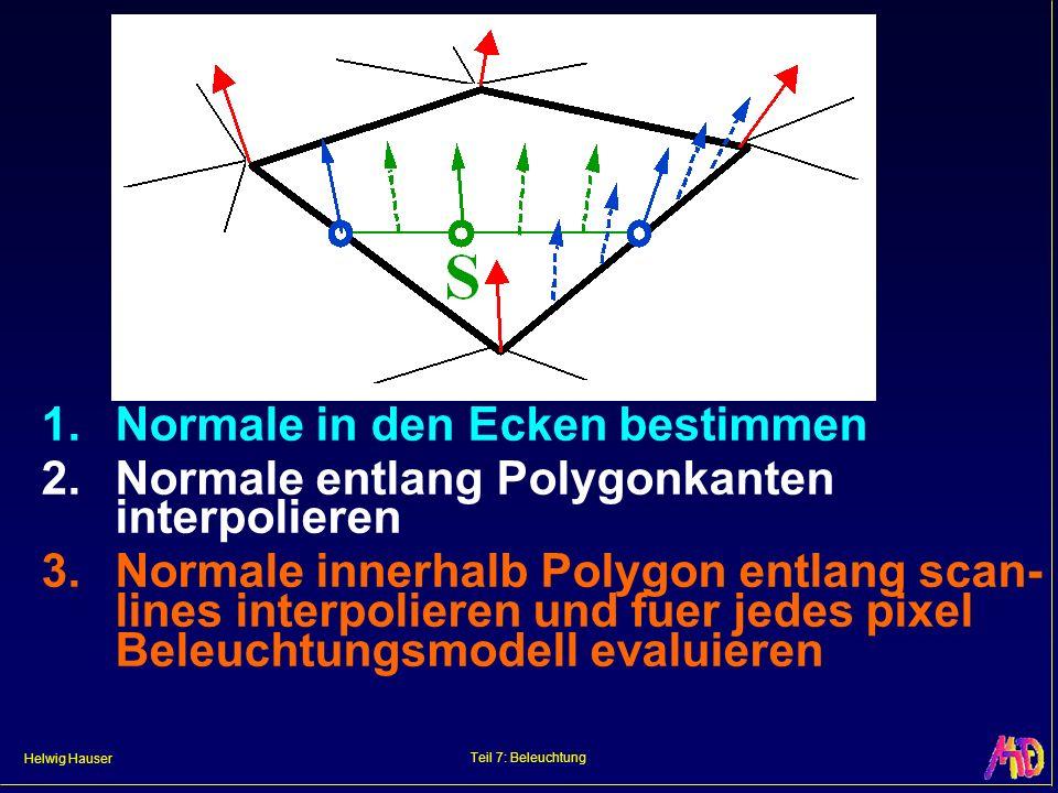 Helwig Hauser Teil 7: Beleuchtung 1. Normale in den Ecken bestimmen 2. Normale entlang Polygonkanten interpolieren 3. Normale innerhalb Polygon entlan