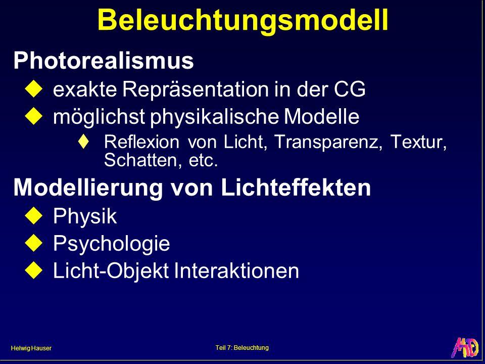 Helwig Hauser Teil 7: Beleuchtung Beleuchtungsmodell Photorealismus exakte Repräsentation in der CG möglichst physikalische Modelle Reflexion von Lich